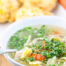 My Mom's Chicken Noodle Soup with Cheddar Chive Biscuits
