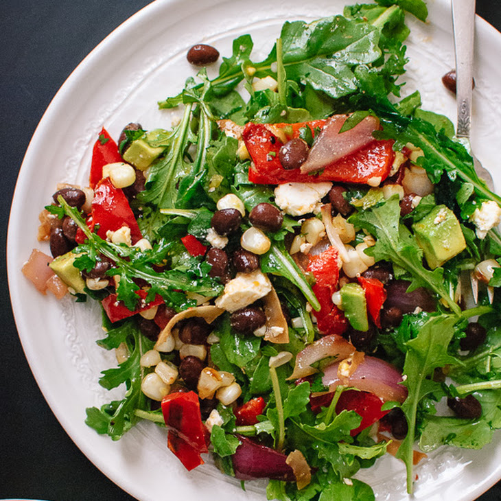 Grilled Summer Salad with Corn, Peppers and Chili-Lime Dressing Recipe ...