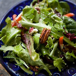 Mixed Green Salad with Pecans, Goat Cheese, and Honey Mustard Vinaigrette