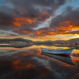 colors by Enver Karanfil - Landscapes Sunsets & Sunrises ( sunset, sea, boat )