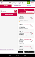 Screenshot of SNCF TER Mobile