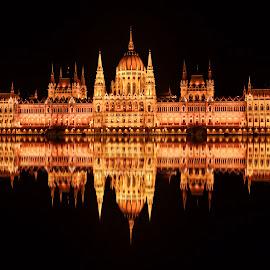 by Hadis Kulovac - City,  Street & Park  Night ( water, parliament )