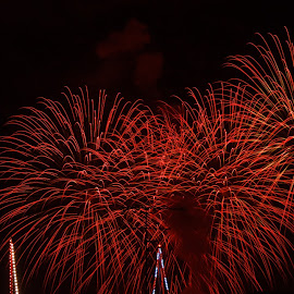 Red Fireworks by Luke Bezzina - Abstract Fire & Fireworks ( red, malta, feast, fireworks, show )
