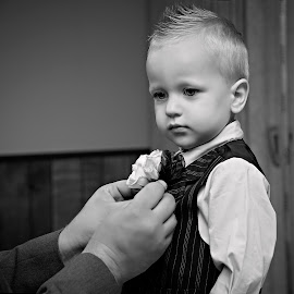 getting ready by Carole Brown - Wedding Getting Ready ( blonde hair, black and white, little boy, suit )