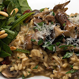 Jamie's 30 Minute Mushroom Risotto And Spinach Salad