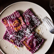Beet Ravioli with Goat Cheese, Ricotta and Mint Filling