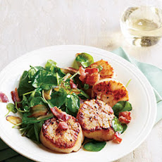 Seared Scallops with Wilted Watercress and Bacon