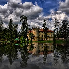 Castle near Vrbovec by Manuela Dedić - Buildings & Architecture Public & Historical ( clouds, reflection, castle,  )