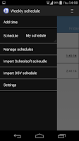 Screenshot of Weekly schedule