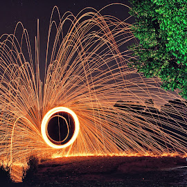 Sparky man by Adrian Berghorst - Abstract Light Painting ( #fire, #bridge, #lightpainting, #night, #sparks )