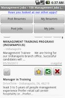 Screenshot of Management Jobs