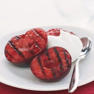 Grilled Plums with Kirsch Cream