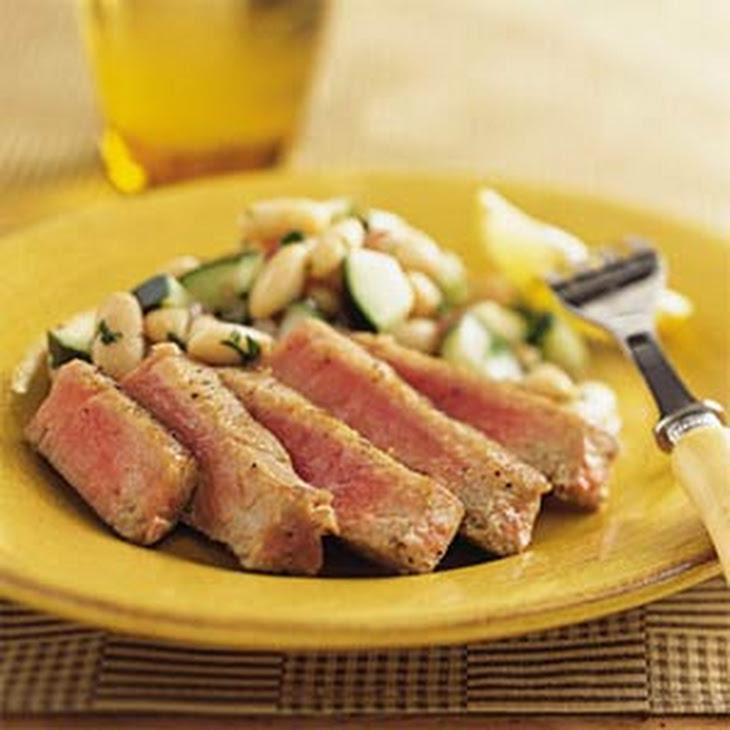 Tuna with White Bean-Cucumber Salad
