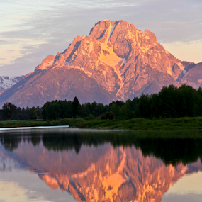Mt Moran at Sunrise by Gerard Pascazio - Landscapes Sunsets & Sunrises ( reflection, oxbow bend, sunrise, mt moran, grand teton )