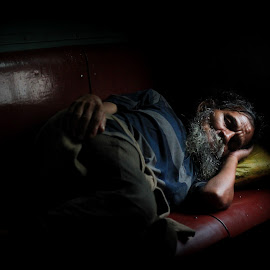 Dreams are for real.. by Utsav Dan - People Street & Candids ( homeless, train, low light, sleeping, morning, man, aged )