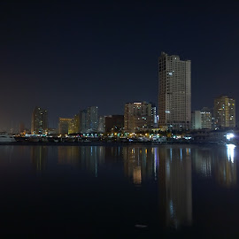 Manila Skyline by Oliver Co - Instagram & Mobile Other ( canon, skyline, blue, buildings, night, long exposure, nightscape,  )