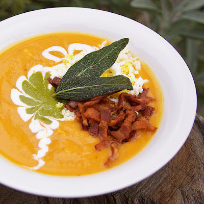 Roasted Sweet Potato Soup with Bacon and Eggs