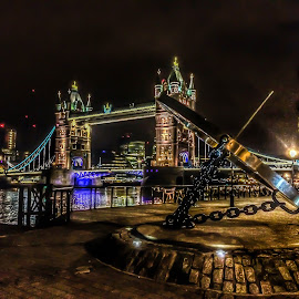 Time Vs Tower by Nachau Kirwan - Buildings & Architecture Bridges & Suspended Structures ( water, timepiece, thames, tower bridge, boat, river, Urban, City, Lifestyle )