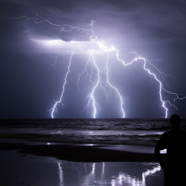 Fork Lightning  by Michael Beazley - News & Events Weather & Storms