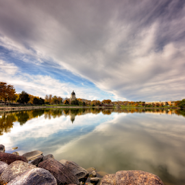 Capitol Lake by B Grand - Landscapes Cloud Formations ( clouds, reflection, capitol lake, fall, sd, pierre, capitol )