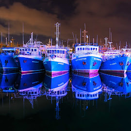 fremantle fishing trawlers by Jeff Miles - Transportation Boats ( fremantle, long exposure, ships, night, nikon )