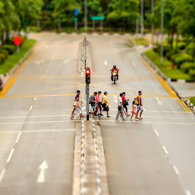 Miniature people   by Samaneethi Krishnan - City,  Street & Park  Street Scenes ( canon, 70-200, titl shift, singapore )