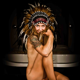 Native State by Matthew Chambers - Digital Art People ( blonde, sexy, nude, headdress, boudoir, tat, indian, matthew chambers photography, tattoo, tribal, native american,  )