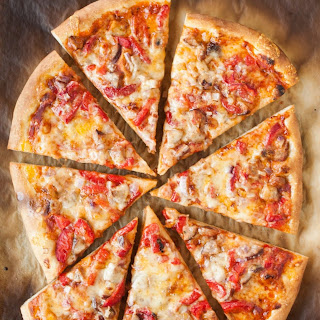 Pizza with Roasted Red Peppers, Sausage & Jack Cheese