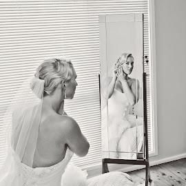 Getting Ready by Alan Evans - Wedding Getting Ready ( mirror, sydney wedding photographer, reflection, wedding photography, wedding day, wedding, aj photography, getting ready, bride, marriage, hunter valley wedding photographer )