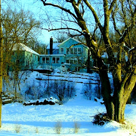 Blue House on the Hill in the Snow by Kathy Rose Willis - Buildings & Architecture Homes ( winter, wood, blue, snow, house,  )