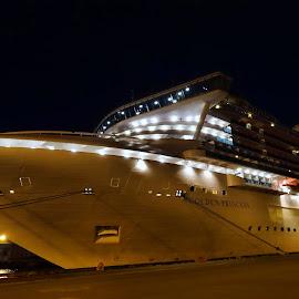 Golden Princess by Michael Lopes - Transportation Boats ( ship at night, princess cruise line, cruise ship. golden princess )