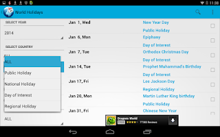 Screenshot of World Holidays