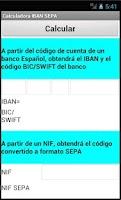 Screenshot of Calculadora IBAN SEPA