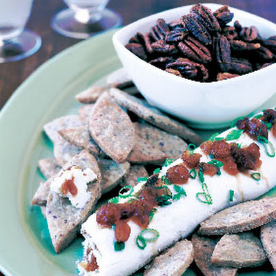 Blue Cheese Shortbread Leaves with Cream Cheese-Chutney Roulade