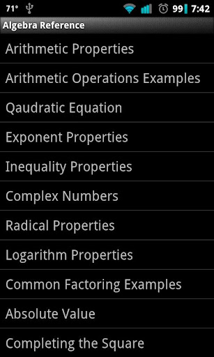 Algebra Reference