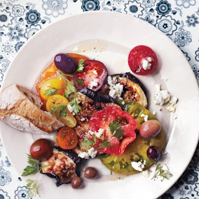 Blistered Eggplant With Tomatoes, Olives, and Feta