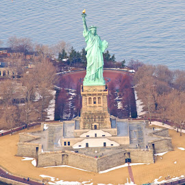Statue of Liberty from the air by Shelley Johnson - Buildings & Architecture Statues & Monuments