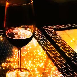 Drinks & Holiday Lights by Tricia Scott - Food & Drink Alcohol & Drinks ( lights, holiday, wine, reflection, drink, glass )