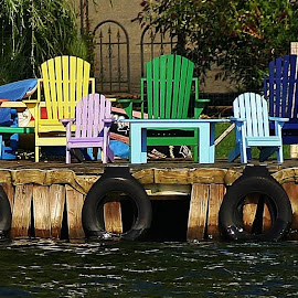 Colors of Summer by Alvin Simpson - Artistic Objects Furniture ( canon, water, chairs, colors, lake, fun, rebel, swimming, dock )