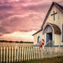 Approaching Storm by Patricia Solano - Buildings & Architecture Decaying & Abandoned ( church, southwest, fences, old west )