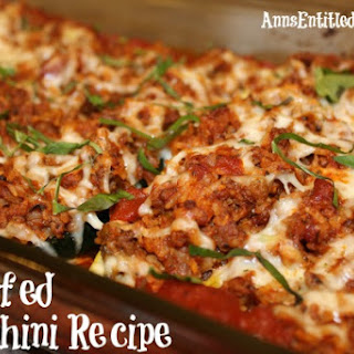 Stuffed Zucchini Recipe With Brown Rice, Ground Beef, Red ...
