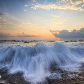 Angry Without Reason  by Bertoni Siswanto - Landscapes Waterscapes ( sunset, landscape photography, beach, motion, waterscapes )
