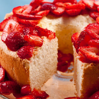 Passover Orange Angel Food Cake with Strawberries