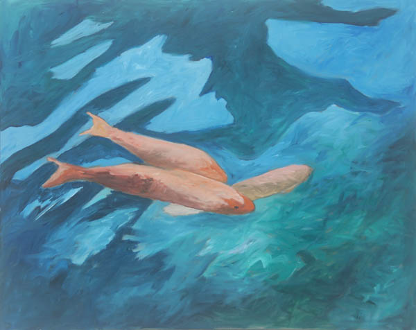 Three Fish #3 <br> Acrylic paint on canvas <br> 24 x 30 in