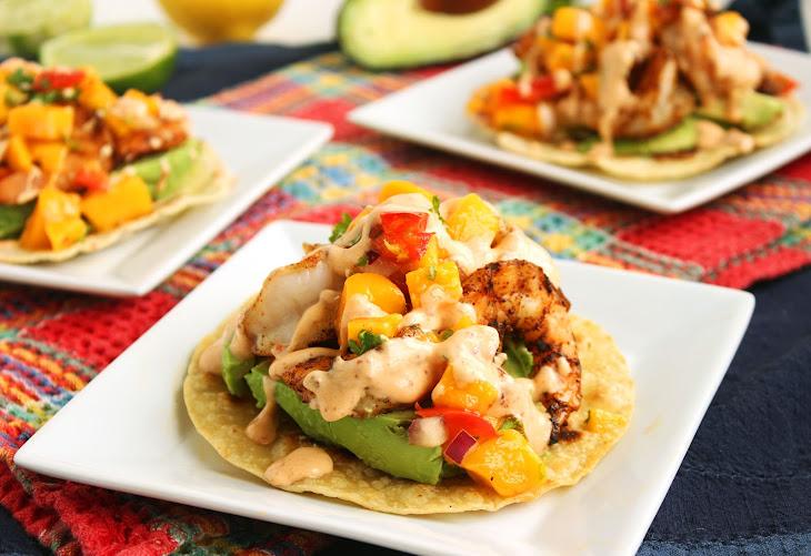 Grilled Shrimp and Avocado Tostadas with Mango Salsa and Chipotle ...