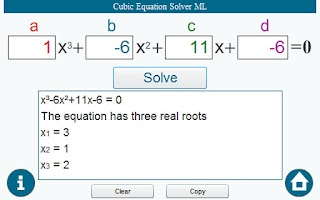 Screenshot of Cubic Equation Solver ML
