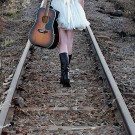 The Long Way by Lizette Van Den Heever - People Musicians & Entertainers ( girl, railway, musician, guitar, country )