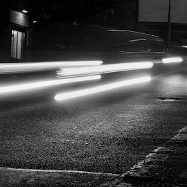 Light trails black and white  by Nic Scott - Abstract Light Painting ( light painting, black and white, car trails, light trails,  )
