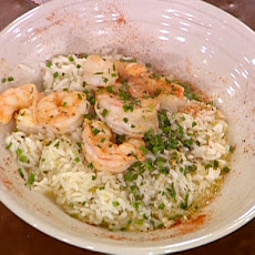 Emeril's Shrimp Scampi with Herbed Rice Pilaf