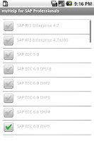 Screenshot of myHelp for SAP Professionals